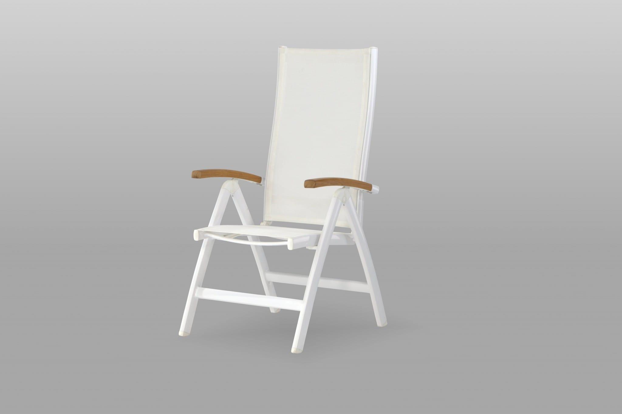 carma Aluminium Multipositionssessel Kreta weiß - Batyline® / Teak ...