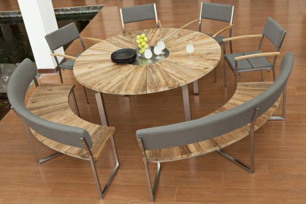 zebra greenline onyx tisch edelstahl old teakholz. Black Bedroom Furniture Sets. Home Design Ideas