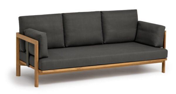 Weish upl newport 3 sitzer sofa teak metallwangen for Sofa ohne kissen