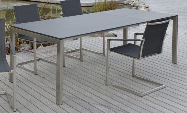 sitMOBILIA Ventura Tisch mit 1 Einlage   Edelstahl / Teak | Bumb
