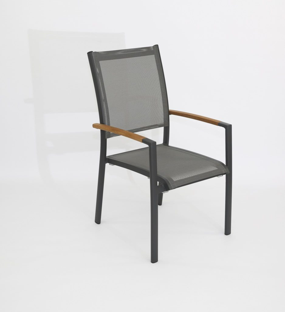 Carma Aluminium Stapelsessel Kreta Comfort Highback Anthrazit   Batyline® /  Teak | Bumb Gartenmöbel Karlsruhe