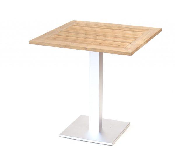 Carma Aluminium Arktis Tisch Quadratisch Edelstahloptik Teakholz Bumb Gartenmobel Karlsruhe